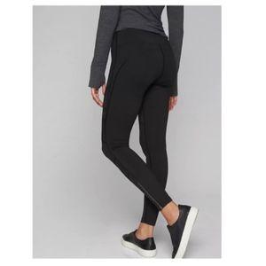 Unique black Athleta leggings with zip